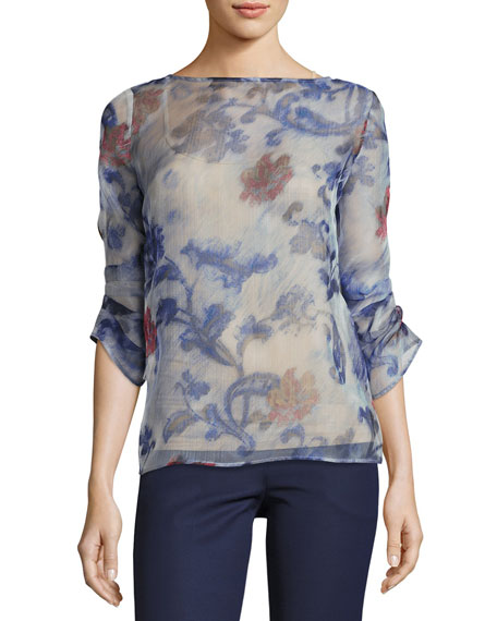 Armani Collezioni Floral Organza 3/4-Sleeve Blouse, Etched Floral