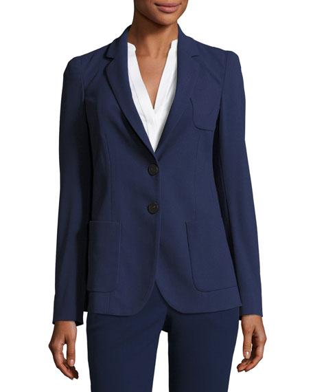 Micro-Jacquard Two-Button Jacket, Marino Blue