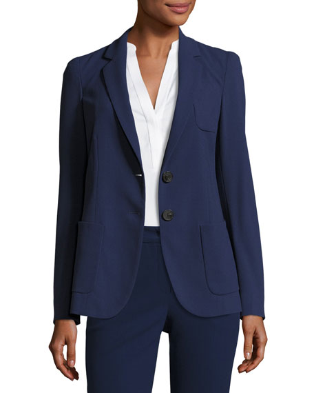 Micro-Jacquard Two-Button Jacket, Marino Blue Best Price