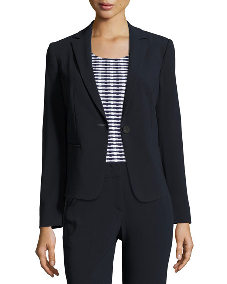 Armani Collezioni Stretch-Wool One-Button Jacket, Midnight