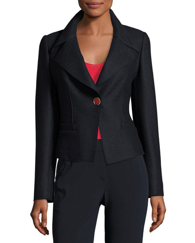 Boiled Wool One-Button Jacket, Navy