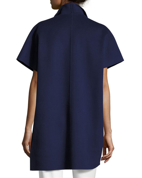 Double-Faced Short-Sleeve Coat, Marino Blue