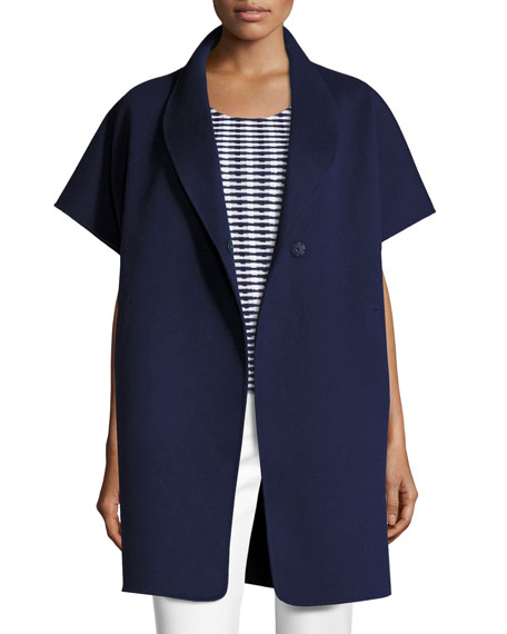 Armani Collezioni Double-Faced Short-Sleeve Coat, Marino Blue