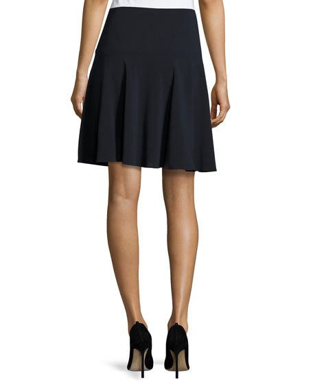 Stretch-Wool Flutter Skirt, Midnight
