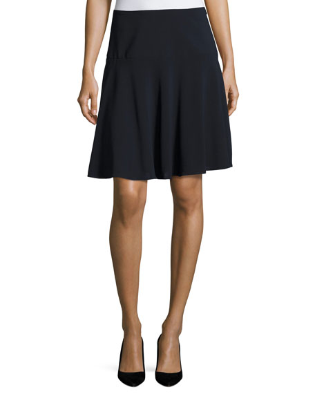 Armani Collezioni Stretch-Wool Flutter Skirt, Midnight