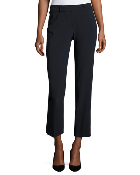 Armani Collezioni Stretch-Wool Ankle Pants, Midnight