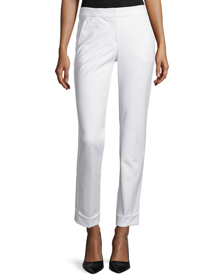 Tech-Cotton Wide-Cuff Pants, Ivory