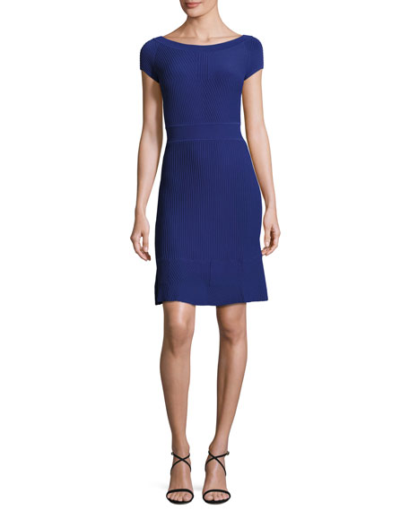 Armani Collezioni Cross-Piping Knit Flounce Dress, Blue Violet