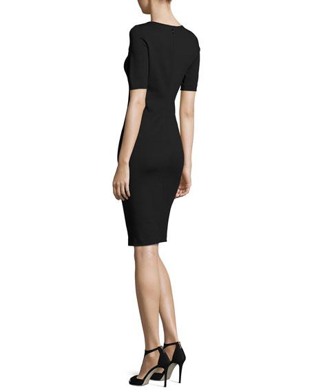 Milano Jersey Pintucked Short-Sleeve Dress, Black