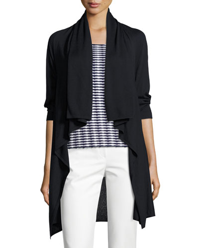 Draped 3/4-Sleeve Cardigan, Midnight