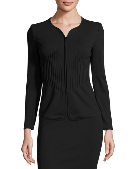 Armani Collezioni Milano Piped Zip Jacket, Black