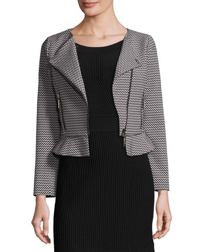 Zigzag Asymmetric-Zip Peplum Jacket, White/Black