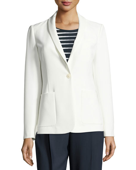 Tech-Stretch One-Button Jacket, Off White