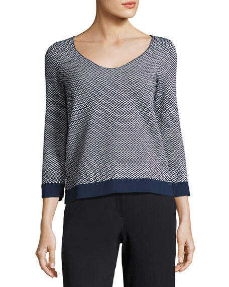 Armani Collezioni Bicolor Chevron Long-Sleeve Knit Top,