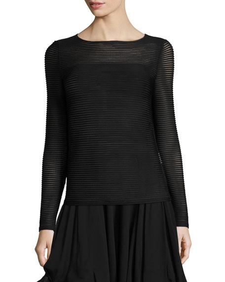 Ottoman Jersey Long-Sleeve Top, Black