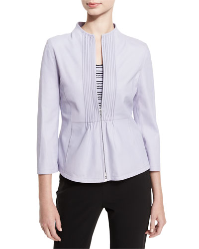 Pintucked Zip-Front Jacket, Lilac