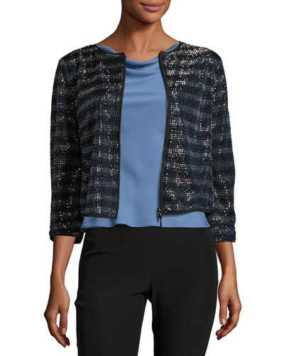 Beaded Striped Zip Jacket, Multi