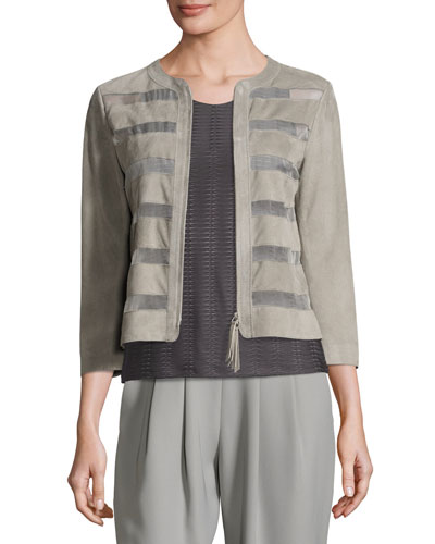 Striped Suede Zip Jacket, Taupe
