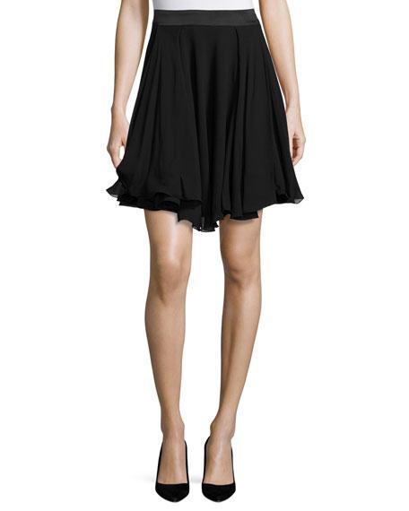 Armani Collezioni A-Line Georgette Skirt, Black