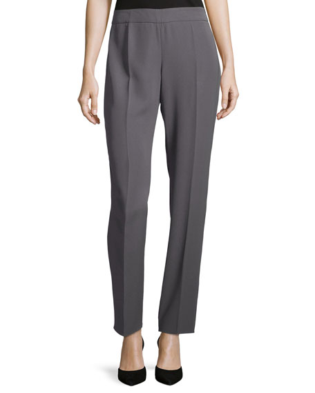 Armani Collezioni P09 Straight-Leg Side-Zip Pants, Dark Gray
