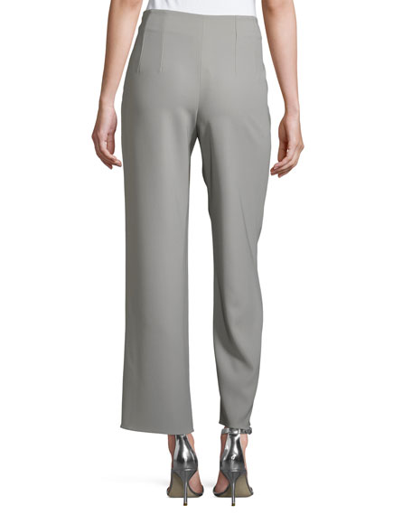 Pleated Tech Cady Side-Zip Pants, Taupe