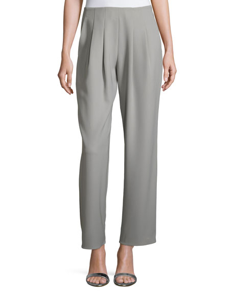 Armani Collezioni Pleated Tech Cady Side-Zip Pants, Taupe