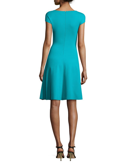 Milano Jersey V-Neck Dress, Azure
