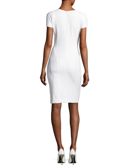 Tech-Cotton Sheath Dress, Off White