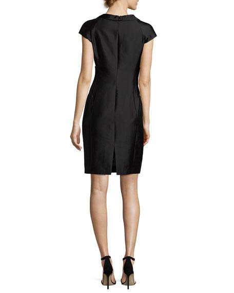 Radzimir Cap-Sleeve Sheath Dress, Black