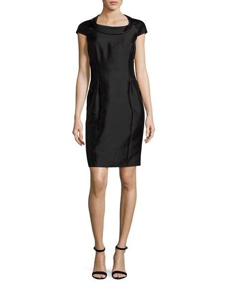 Armani Collezioni Radzimir Cap-Sleeve Sheath Dress, Black