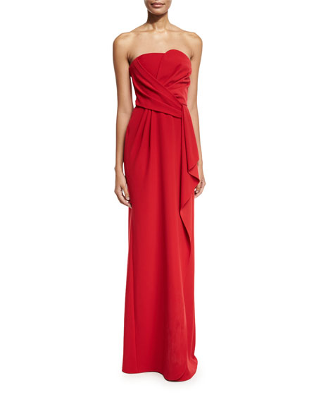 Image 1 of 2: Strapless Tech Cady Gown, Red