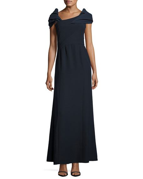 Armani Collezioni Asymmetric Cap-Sleeve A-Line Gown, Midnight