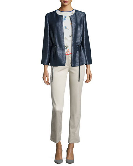 Floral-Print Silk Short-Sleeve Blouse, Multi