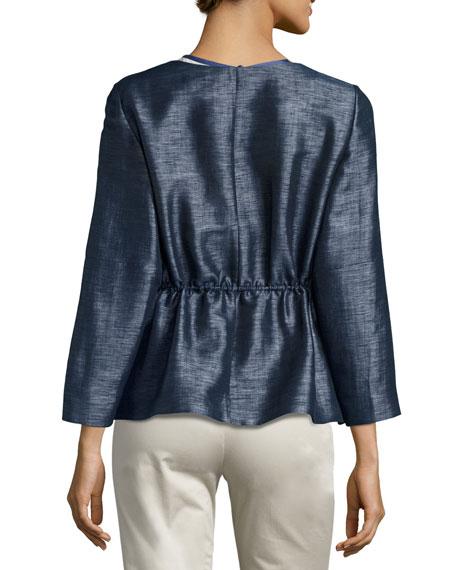 Drawstring Bracelet-Sleeve Zip Jacket, Blue/Multi