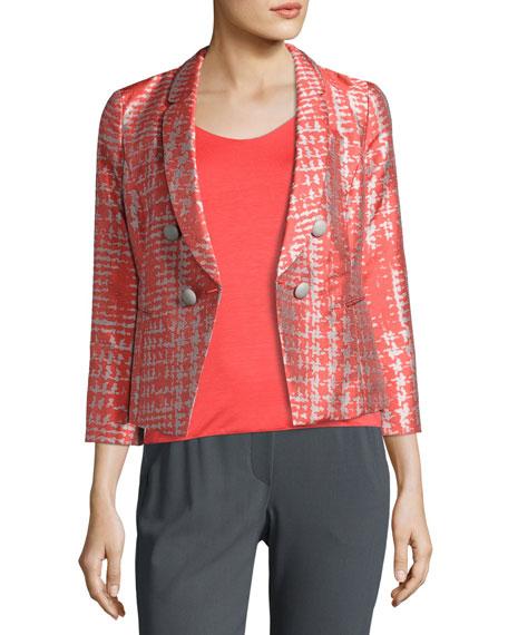 Basketweave Jacquard 3/4-Sleeve Jacket, Coral/Multi