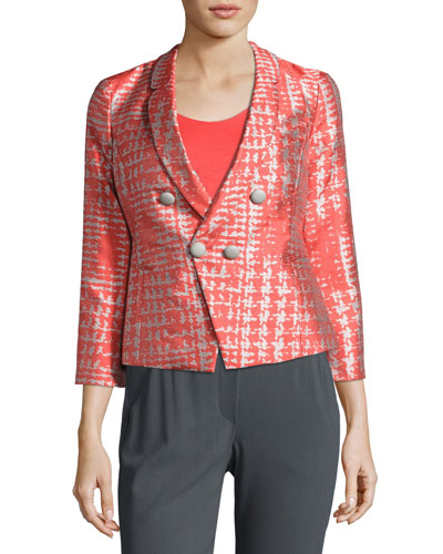 Basketweave Jacquard 3/4-Sleeve Jacket, Coral/Multi