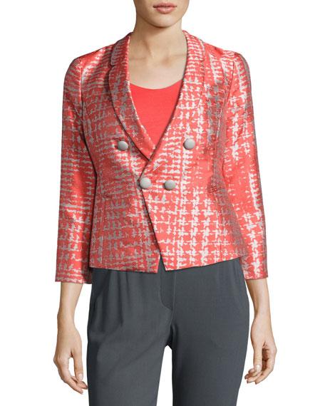 Armani Collezioni Basketweave Jacquard 3/4-Sleeve Jacket, Coral/Multi