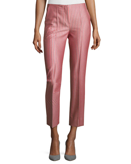 Geometric Jacquard Ankle Pants, Red/Multi