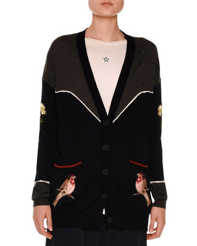 Western Bird-Embroidered Cardigan, Charcoal/Ink