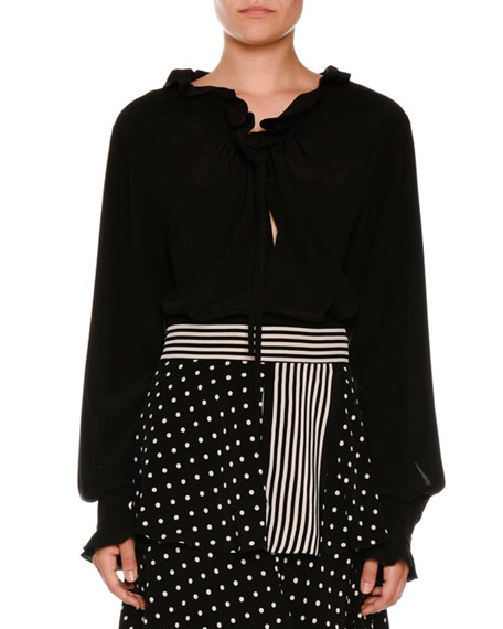 Drawstring Ruffled-Trim Tunic Blouse, Black