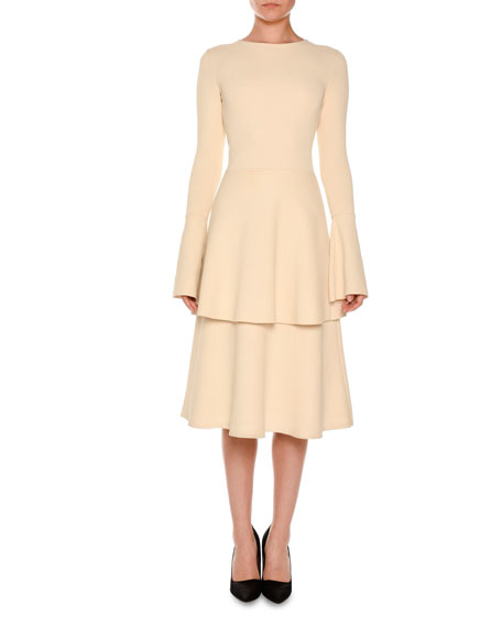 Stella McCartney Long-Sleeve Tiered Tulip-Hem Dress, Linen