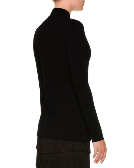 Compact Rib-Knit Zip-Front Jacket, Black