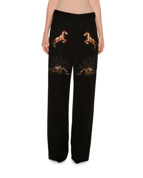 Stella McCartney Nashville Horse & Sunset Pants, Black