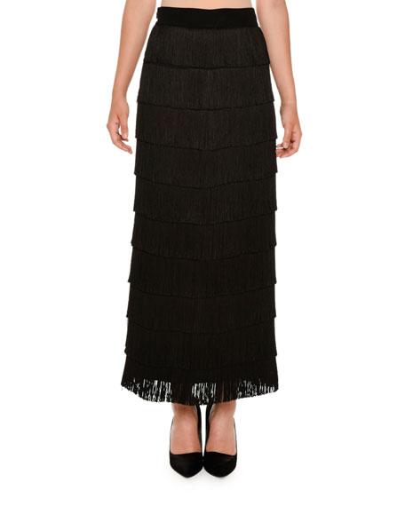 Tiered Fringe Maxi Skirt, Black