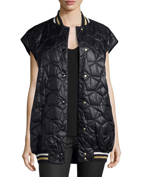 Sabine Sleeveless Quilted Vest Jacket, Ink