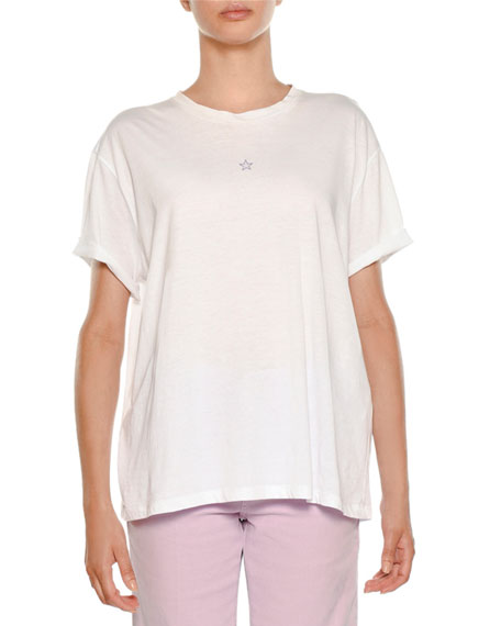 Stella McCartney Star-Embroidered Crewneck Tee, Pure White