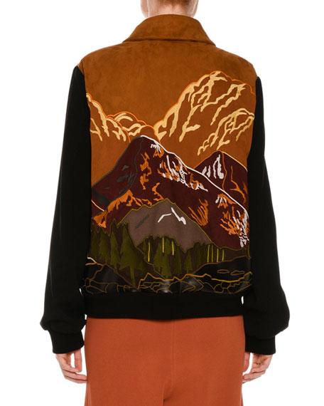 Mountain Scene Faux-Suede Zip Jacket, Multicolor