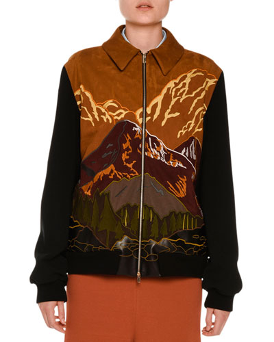 Mountain Scene Faux-Suede Zip Jacket, Multicolor