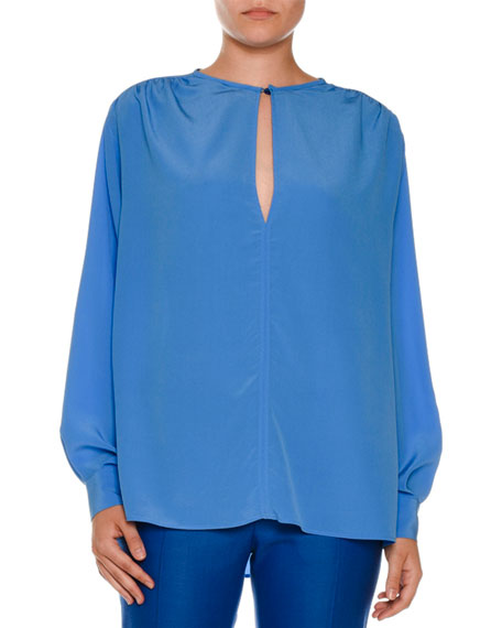 Silk Keyhole Tunic Blouse, Cornflower Blue