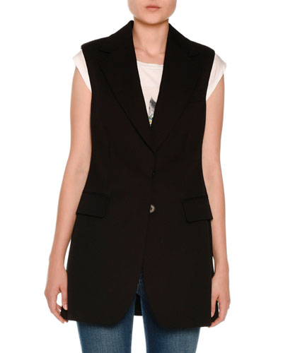 Notched-Collar Long Vest, Petrol Blue